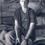 Jane Bond 'Joe Dugdale' full length charcoal drawing with background