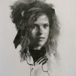 Robbie Wraith 'Tiffany' head and shoulders charcoal portrait drawing