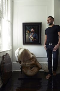 Miriam Escofet's portrait of Michael Reynolds in situ with the sitter
