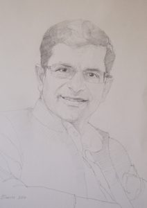 Sketch for Professor Shitij Kapur by Paul Brason RP