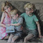 Valeriy Gridnev Byng children family group pastel drawing