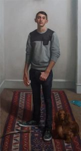 portrait prize winner Jamie Routley, Alex Liederman at 17 with his daschhund dog