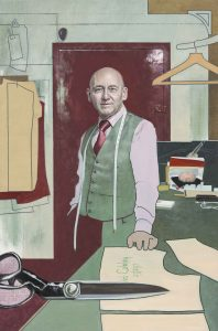 David Cobley, Made to Measure portrait of a tailor with the tools of his trade- top portrait painters 2017