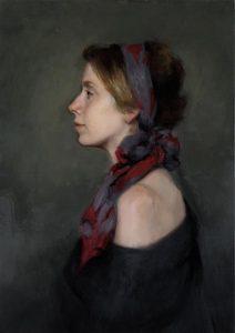 Harriet Pattinson, In Profile, a head and shoulders portrait in oil- top portrait painters 2017
