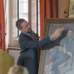 Sam Dalby unveiling his painting at Girton College for People's Portraits, our permanent collection