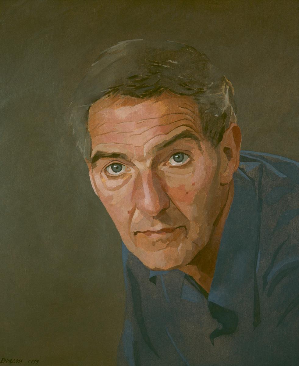 Paul Brason 'Gerald Ball, Garage Proprietor' (1999) 12 x 10 ins. Oil on Board