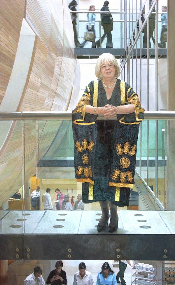 Alastair Adams 'Sandra Burslem' for Manchester Metropolitan University'. 77 x 47 ins. Oil