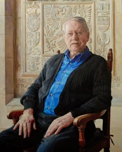 Alastair Adams, seatd portrait of Chuck Feeney