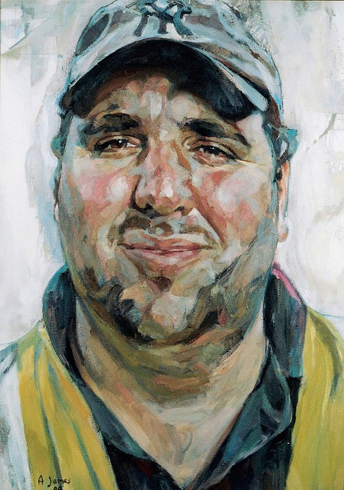 Andrew James 'Richard Griffiths, park keeper' (2004). 31 x 22 ins. Oil on Canvas.