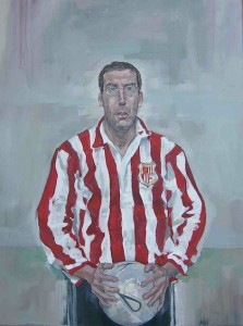 Jason Bowyer 'The Offering' oil portrait painting of a football player