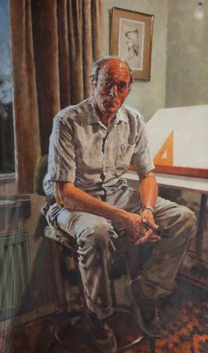 David Hugh Cobley, 'Wally Cooper, Retired Draughtsman' (1991). 150 x 88 cm. Oil on canvas.