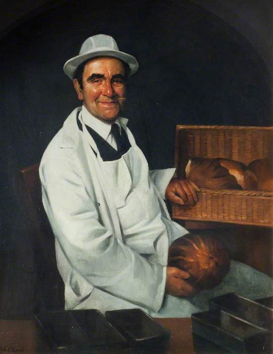 John Edwards, 'Bread Delivery Man and Retired Carpet Weaver' (2000). 124 x 99 cm. Oil on canvas.