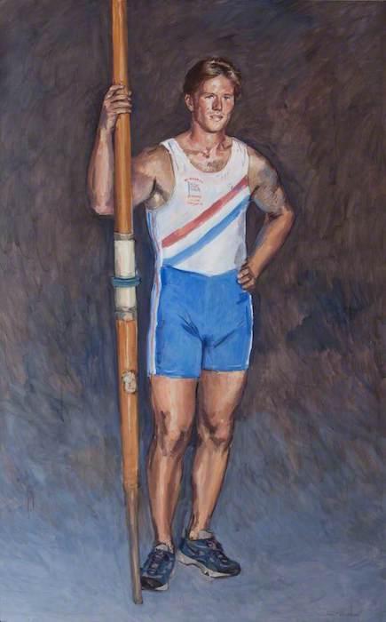 Richard Foster, 'Ed Coode, Oarsman' (2000). 200 x 120 cm. Tempera on canvas.