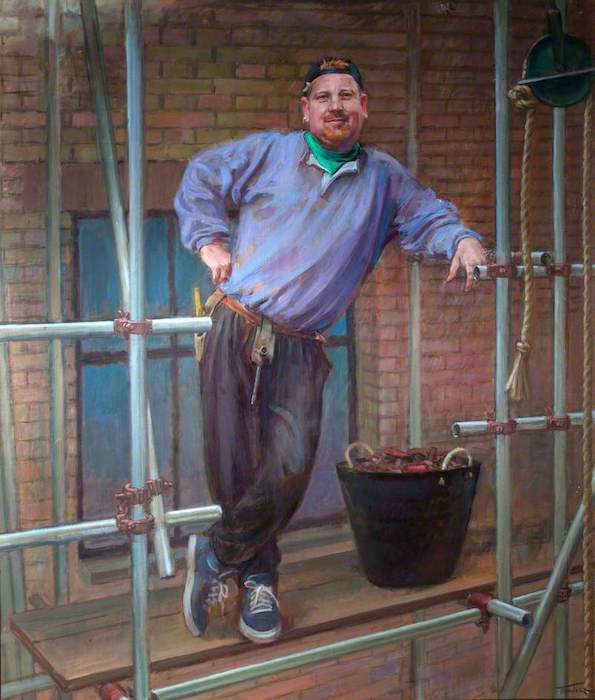June Mendoza, 'Chris McCann, Scaffolder' (2000). 100 x 87 cm. Oil on canvas.