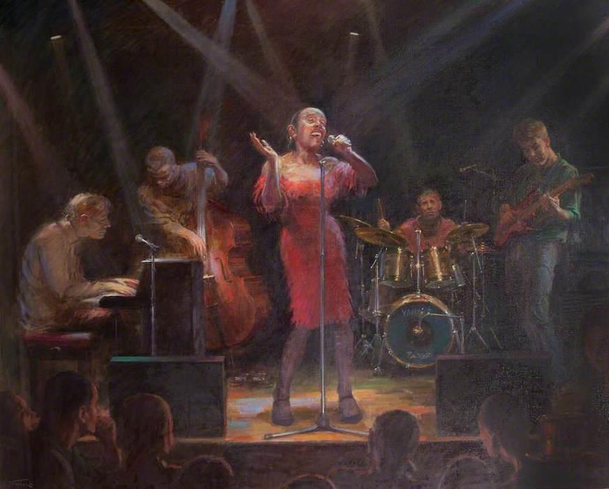 June Mendoza, 'Madeleine Bell, Singer' (2000). 112 x 137 cm. Oil on canvas.