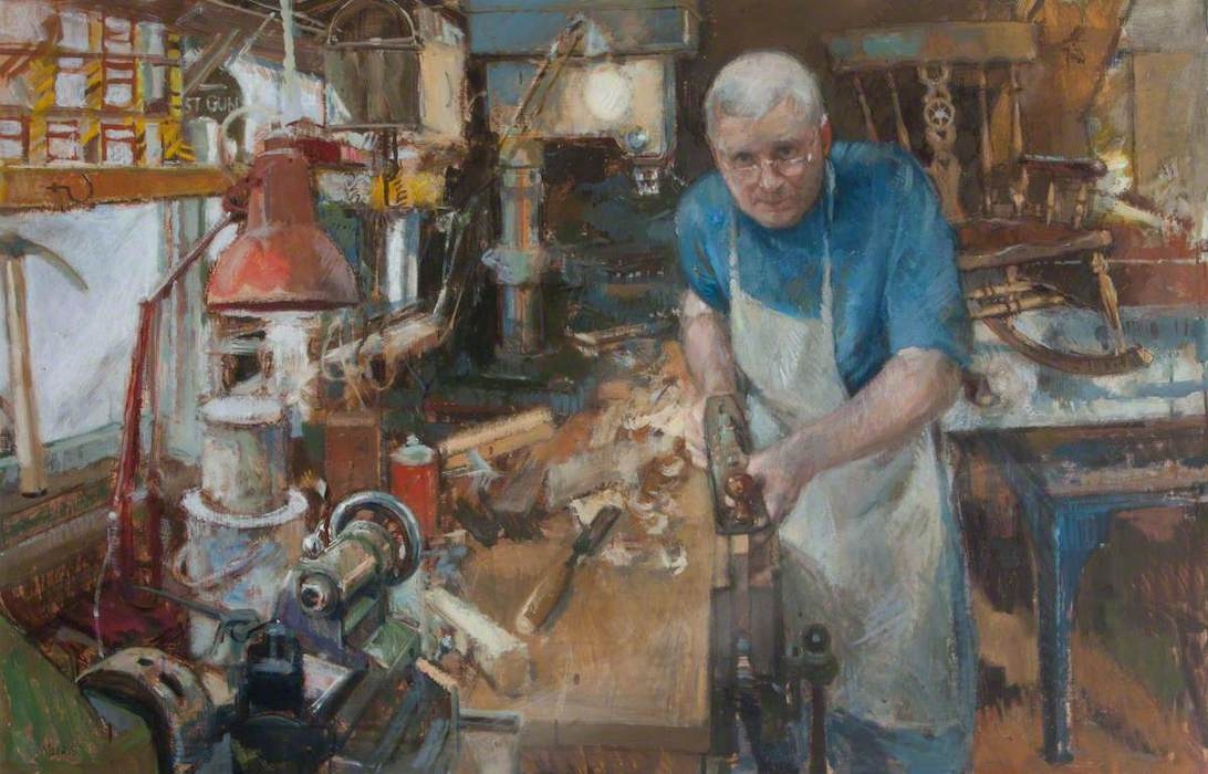 Anthony Morris, 'Robert Grant, Furniture Maker' (2000). 73 x 114 cm. Oil on canvas.