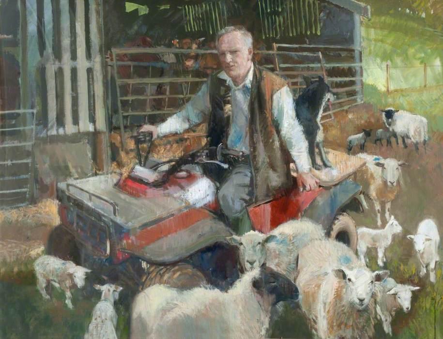 Anthony Morris, 'Dick Prosser, Farmer' (2000). 72 x 98 cm. Oil on board.