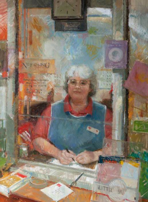 Anthony Morris, 'Mary Morris, Post Office Assistance' (2000). 97 x 71 cm. Oil on board.