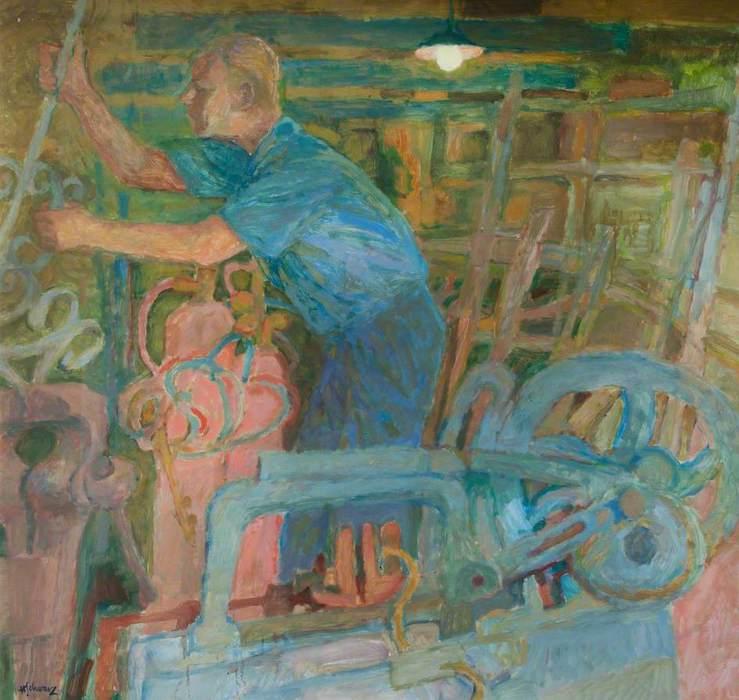 Hans Schwarz, 'Jack Cadman, Blacksmith' (2000). 119 x 119 cm. Oil on board.