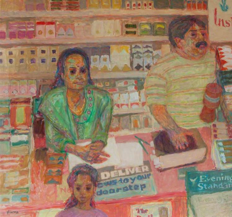 Hans Schwarz, 'Rajesh Patel, Shop Owner' (2000). 119 x 119. Oil on board.