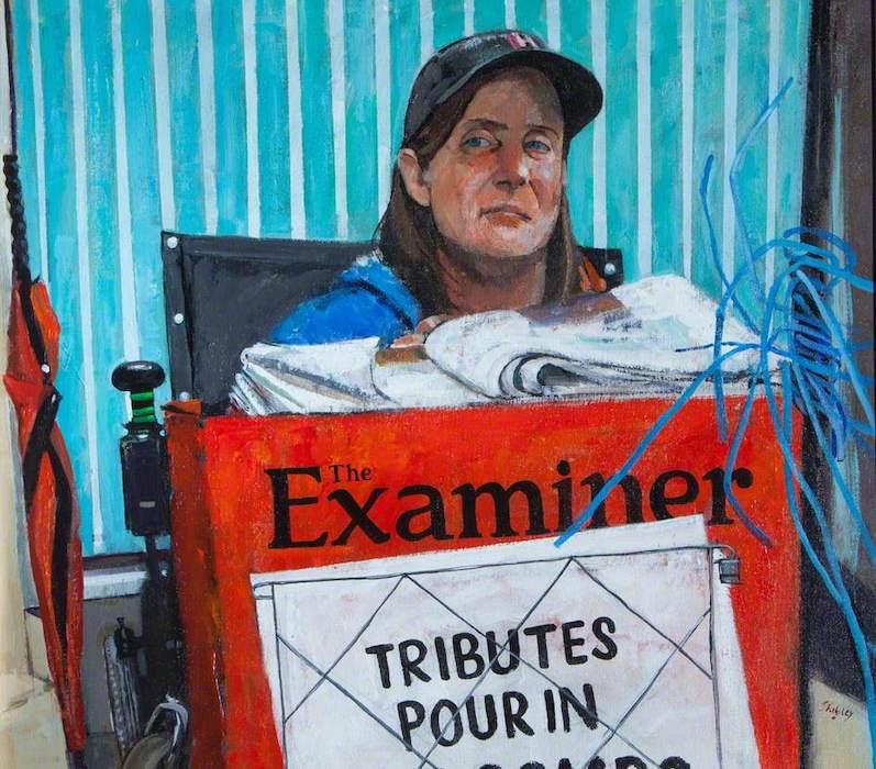 Trevor Stubley, 'Bernadette William, Newspaper-Seller'. 61 x 69 cm. Oil on canvas.