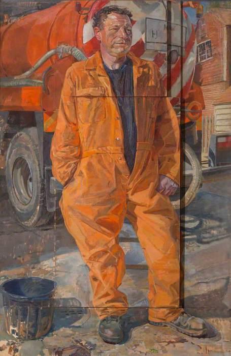 Daphne Todd, Trevor Tasker, Cesspit Emptier (2000). 152 x 99 cm. Oil on panel.