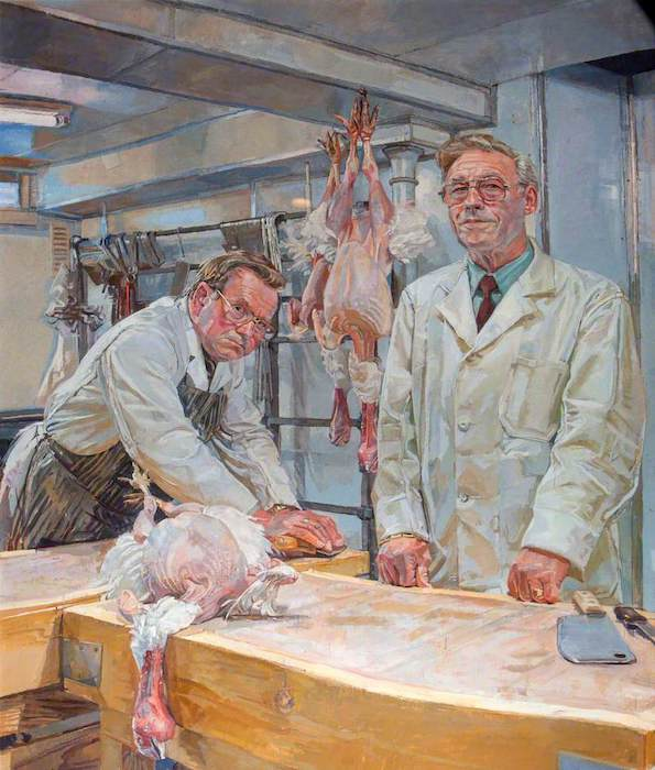 Daphne Todd, 'Ron and Ray Pett, Butchers'. 126 x 100 cm. Oil on panel.