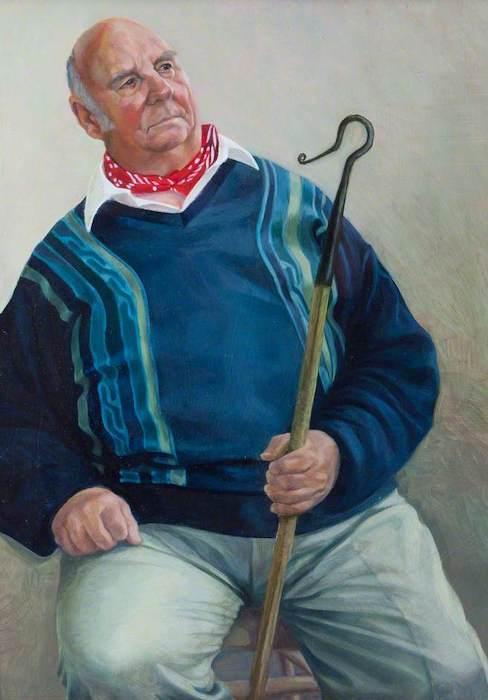 Toby Wiggins, 'Larry Skeats, Retired Dorset Shepherd' (2000). 56 x 40 cm. Oil on gesso panel.