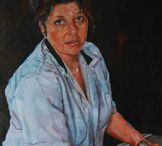 Simon Davis 'Fishsale: portrait of Elaine Lorys' (detail) (2010). 18 x 12 ins. Oil on board.