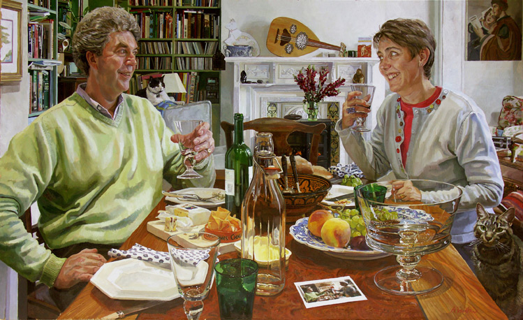 Alastair Adams 'Jonathan Brunskill and Victoria Jebens'. 30 x 48 ins. Oil