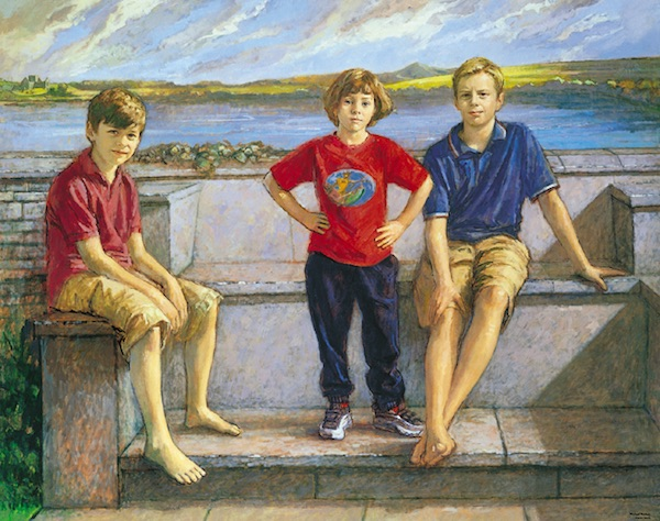 Michael Noakes 'Andy, Izzy and Edward at Burrishoole'. 40 x 50 ins. Oil.