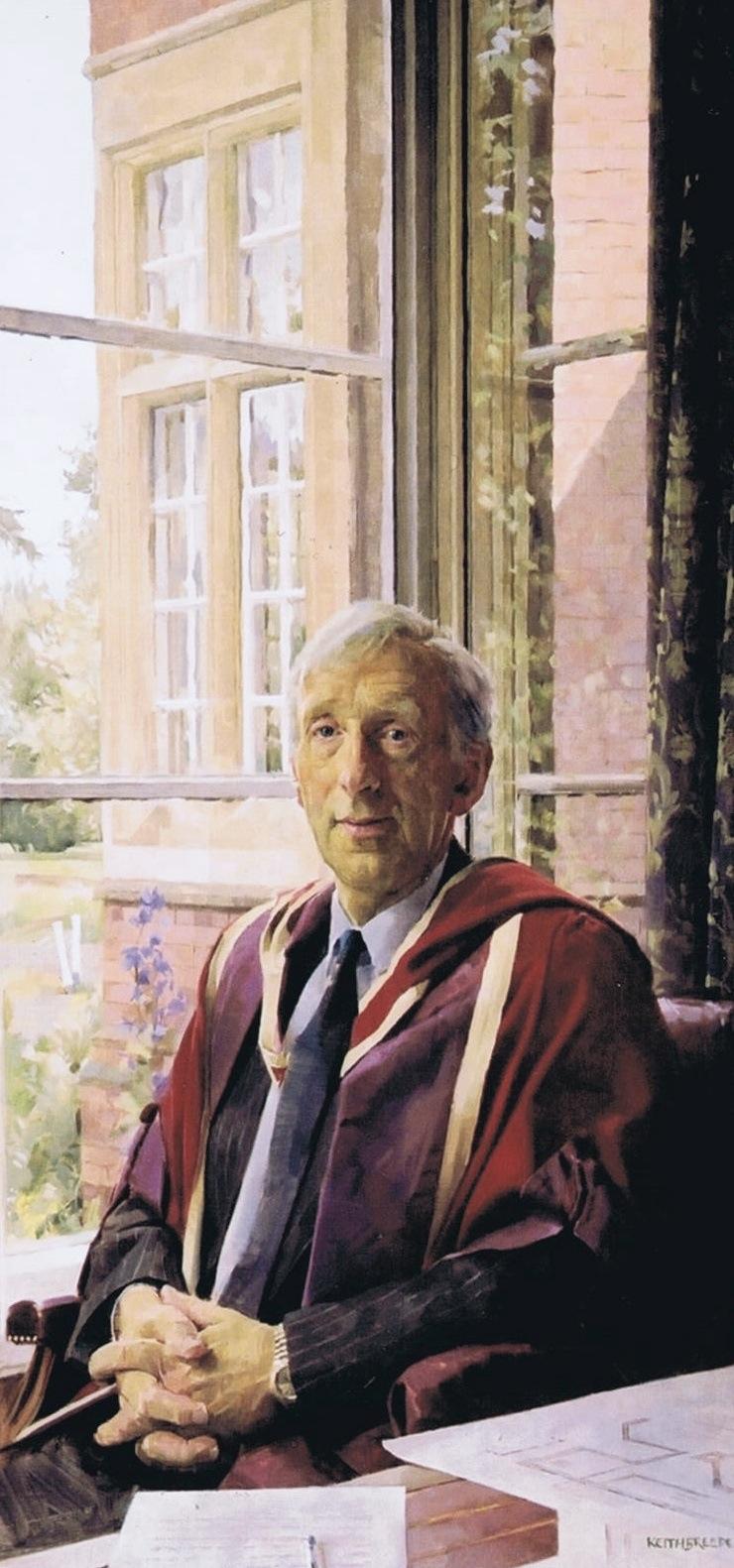 Keith Breeden 'Philip Cheshire. Headmaster, Warwick School' (2002). 52 x 26 ins. Oil.