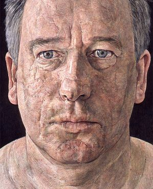 Antony Williams 'Self Portrait'. 16 x 12 ins. Egg Tempera.