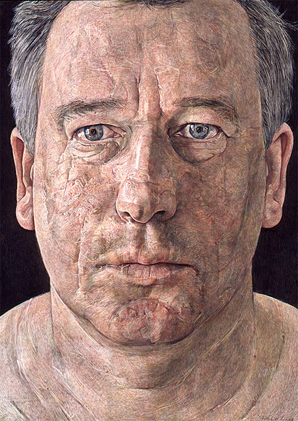 Antony Williams 'Self Portrait'. 16 x 12 ins. Egg Tempera.