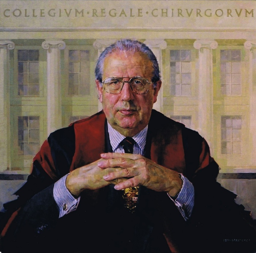 Keith Breeden 'Sir Barry Jackson. President, The Royal College of Surgeons of England' (2003). 34 x 34 ins. Oil.