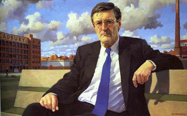 Keith Breeden 'Sir Dominic Cadbury, Chairman, Cadbury Schweppes Plc' (2000). 28 x 36 ins. il on Canvas