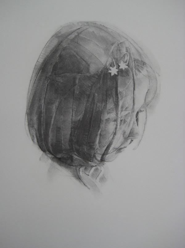 Geoffrey Hayzer 'Rosie'. 16.5 x 15 ins. Charcoal