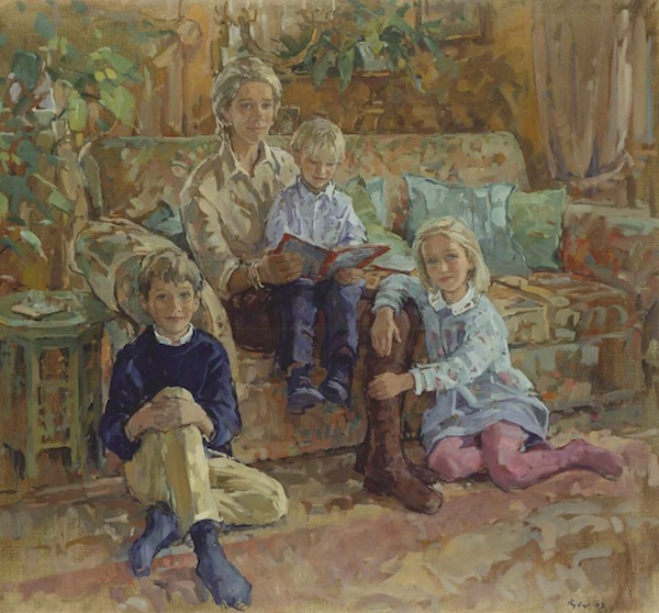 Susan Ryder 'Claire Gooch with Charlie, Georgina and Guy'. 34 x 38 ins. Oil.