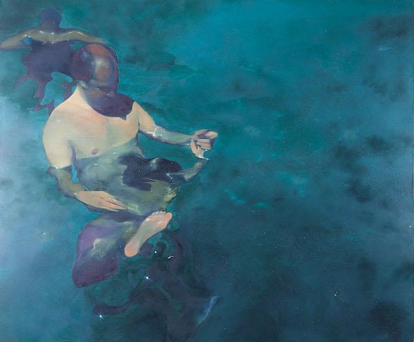 Nicholas Archer 'The Swimming Lesson'. 60 x 72 ins. Oil