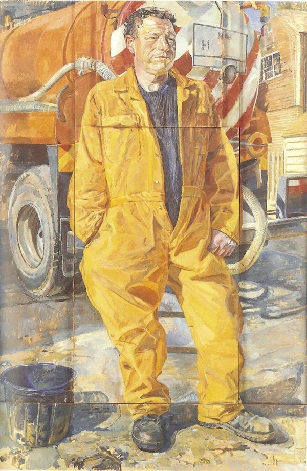 Daphne Todd 'Trevor Tasker, Cesspit Emptier' (2000). 60 x 40 ins. Oil on Raised Panels
