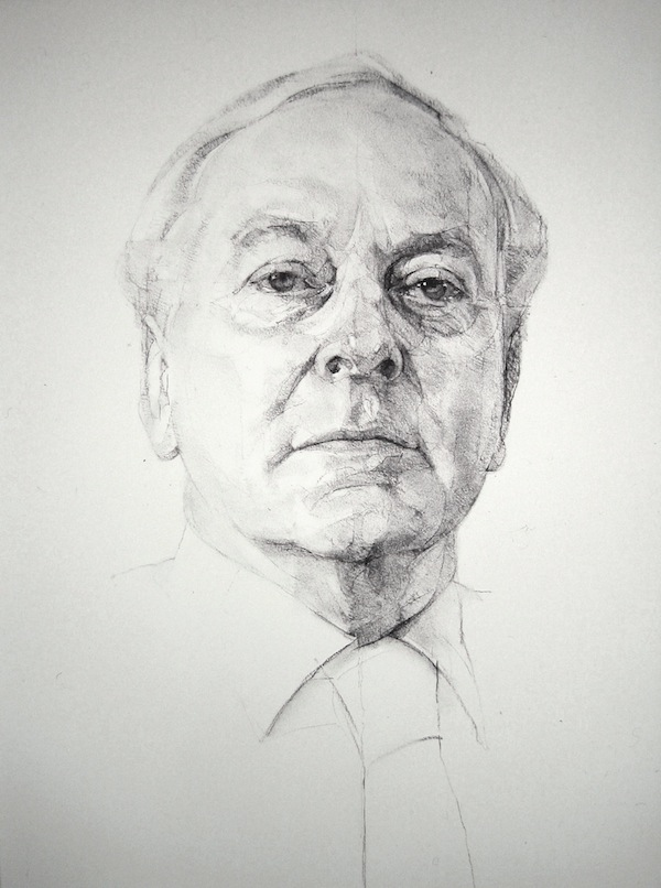 Geoffrey Hayzer 'Lord Runciman, President of The British Academy'. 30 x 24 ins. Charcoal. By kind permissions of The British Academy.