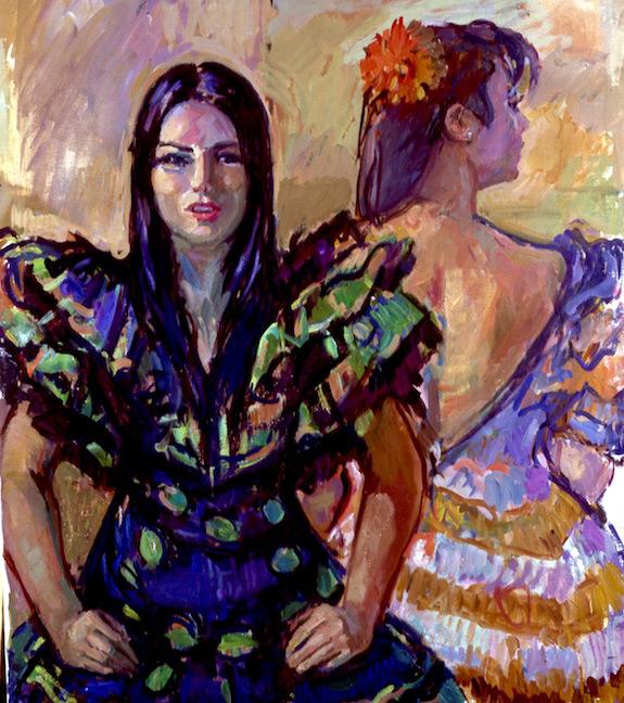 David Graham 'Martha and Liliana'. 30 x 26 ins. Oil.