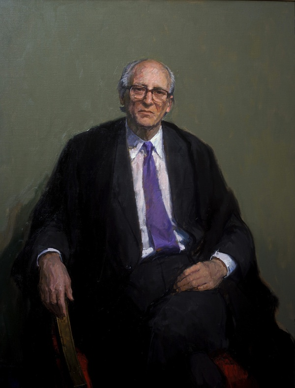 David Poole 'The Rt. Hon Lord Bingham of Cornhill'. 50 x 40 ins. Oil.