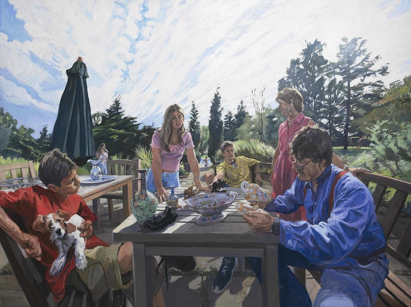 John Wonnacott 'Tim Wonnacott & Family, Examining a Curious Object' (2004-5). 72 x 96 ins. Oil.