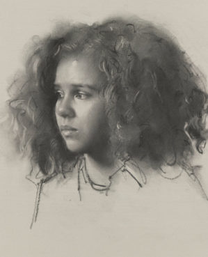 Robbie Wraith 'Esther' charcoal drawing of a girl and Winner of the 2019 Prince of Wales Award for Drawing