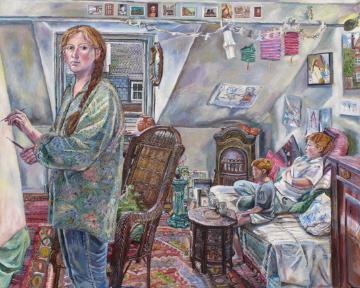 Melissa Scott-Miller 'Self Portrait with my Children'. 48 x 60 ins. Oil.