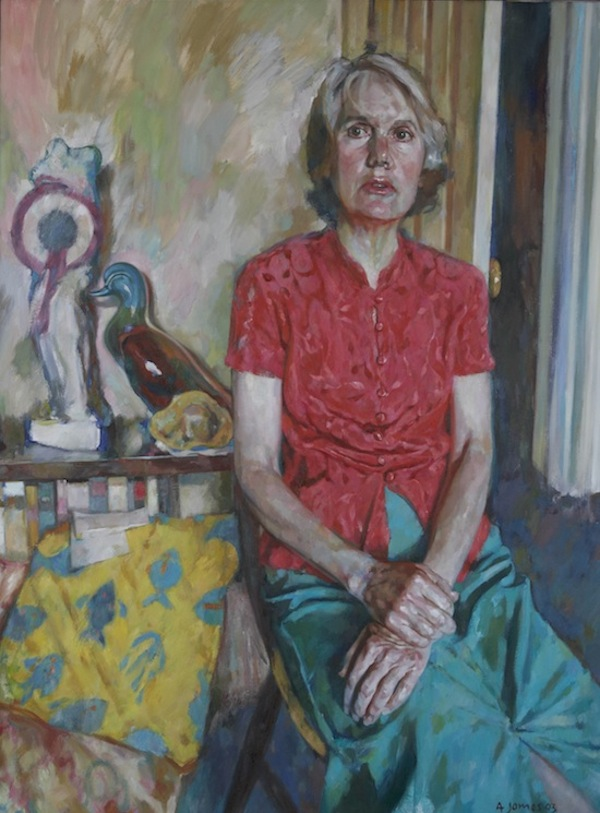 Andrew James 'Portrait of Avril'. 42 x 32 ins. Oil.