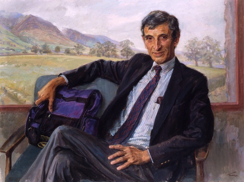 June Mendoza 'Sir George Alberti, Past President, The Royal College of Physicians' (2002). 30 x 40 ins. Oil.