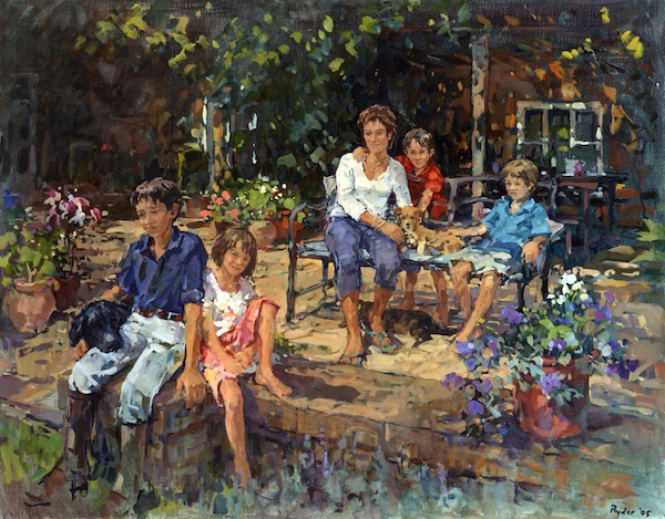 Susan Ryder 'Annabel Rigby with Max, Tilly, George and Henry'. 34 x 42 ins. Oil.
