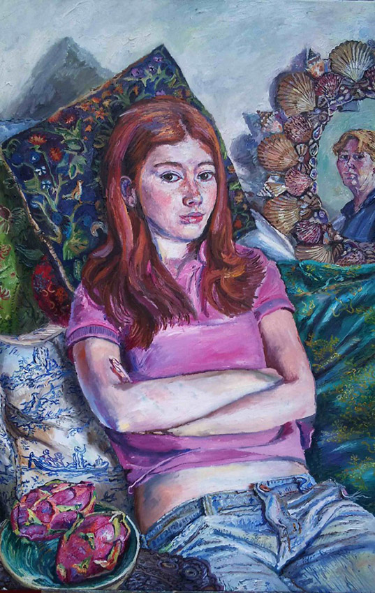 Melissa Scott-Miller 'My Daughter and Myself'. 30 x 24 ins. Oil.